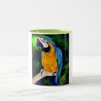 Blauer und gelber Macaw-Papagei Zweifarbige Tasse