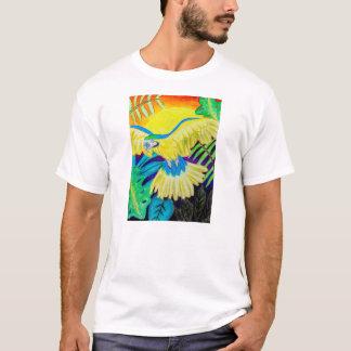 Blauer und gelber Macaw, tropischer farbiger T-Shirt