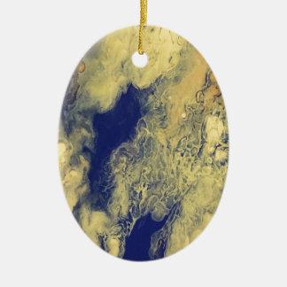 Blauer und gelber Marmor Keramik Ornament