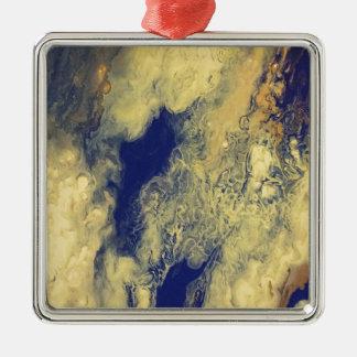 Blauer und gelber Marmor Quadratisches Silberfarbenes Ornament