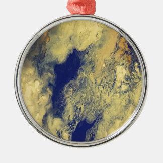Blauer und gelber Marmor Rundes Silberfarbenes Ornament