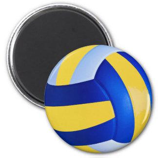 Blauer und gelber Volleyball Runder Magnet 5,7 Cm