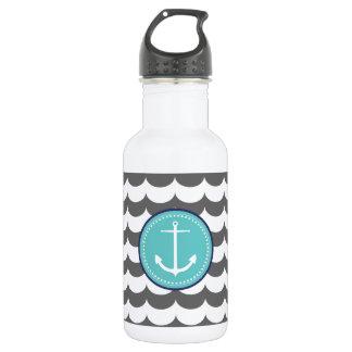 Blauer und grauer Anker mit Wellen-Muster Trinkflasche