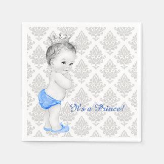 Blauer und grauer Damast-Prinz Babyparty Papierserviette