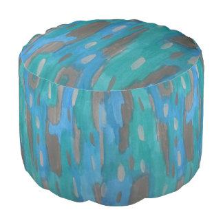 Blauer und grauer Muster-Puff Hocker