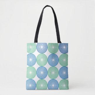 Blauer und grüner Kreisentwurf Tasche