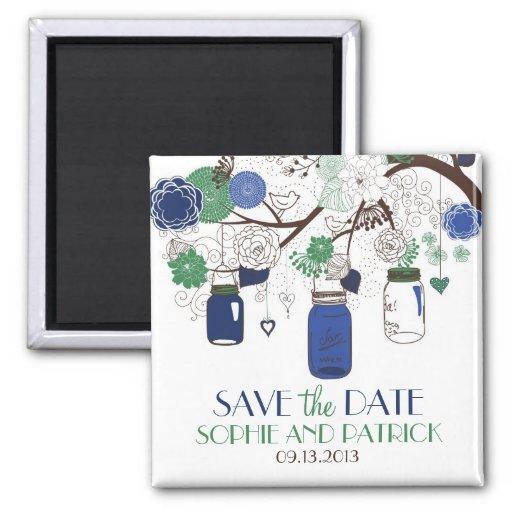 Blauer und grüner Maurer-Glas-Save the Date Magnet Kühlschrankmagnete