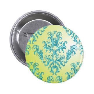 Blauer und grüner Vintager Damast Runder Button 5,1 Cm