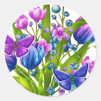 Blauer und lila Blumenaufkleber mit Runder Aufkleber