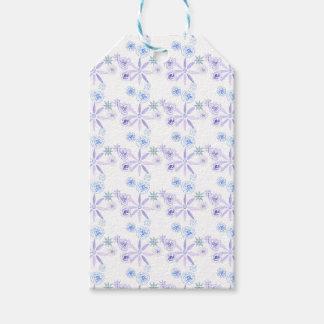Blauer und lila Blumengeschenkumbau Geschenkanhänger