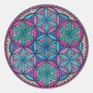 Blauer und lila Mandala Runder Aufkleber