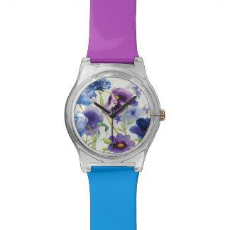 Blauer und lila Mischgarten Armbanduhr