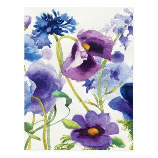 Blauer und lila Mischgarten Postkarte