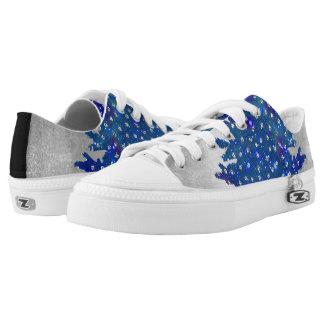 Blauer und lila Watercolor-Weihnachtsbaum Niedrig-geschnittene Sneaker