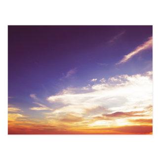 Blauer und orange Sonnenuntergang Postkarte