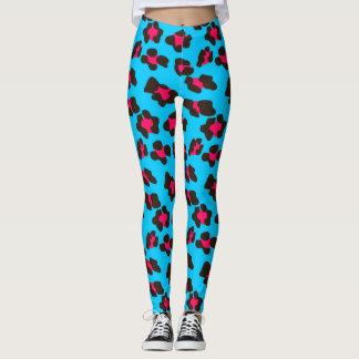 Blauer und rosa Leopard-Neondruck Leggings