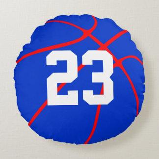 Blauer und roter Basketball-kundenspezifisches Rundes Kissen