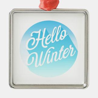 Blauer und Weiß-hallo Winter Silbernes Ornament