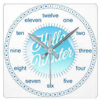 Blauer und Weiß-hallo Winter-Tupfen Quadratische Wanduhr