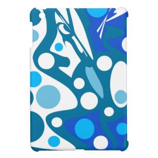 Blauer und weißer abstrakter Dekor Hülle Für iPad Mini