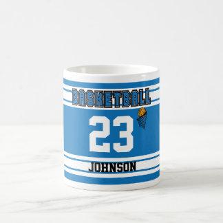 Blauer und weißer Basketball Jersey Kaffeetasse