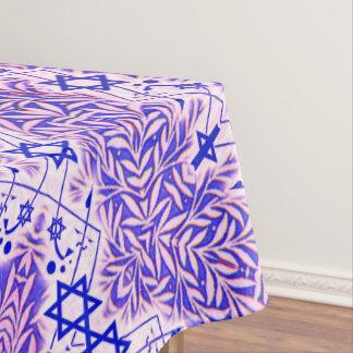 Blauer und weißer belaubter Davidsstern Grenze Tischdecke