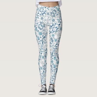 Blauer und weißer Blumendruck Leggings