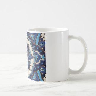 Blauer und weißer Fliesenentwurf der Vintagen Kaffeetasse