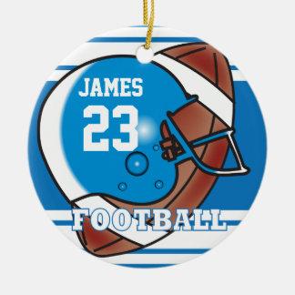 Blauer und weißer Fußball Rundes Keramik Ornament