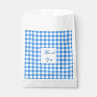 Blauer und weißer Gingham-Karo danken Ihnen Geschenktütchen