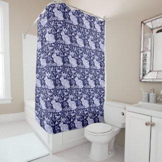 Blauer und weißer Kaninchen-Vogel-Duschvorhang Duschvorhang