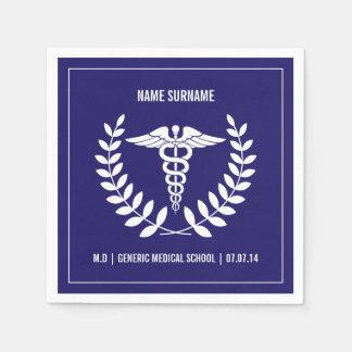 Blauer und weißer medizinische SchulAbschluss Papierserviette
