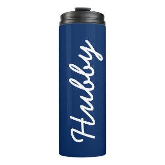 Blauer und weißer mit Monogramm Hubby-cooles Thermosbecher