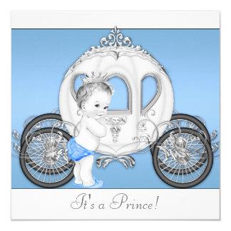Blauer und weißer Prinz Babyparty Quadratische 13,3 Cm Einladungskarte