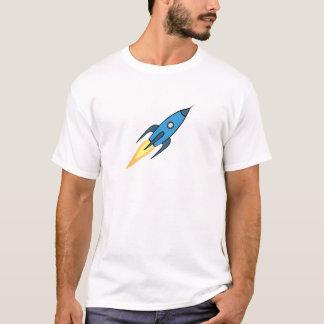 Blauer und weißer Retro Rocketship Cartoon-Entwurf T-Shirt