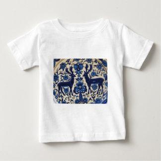Blauer und weißer Rotwild-Hirsch-Vintage Fliese Baby T-shirt