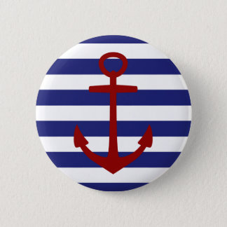 Blauer und weißer Stripeswith Rot-nautischanker Runder Button 5,7 Cm
