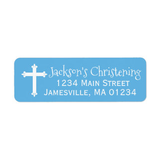 Blauer und weißer TaufRücksendeadressen-Aufkleber