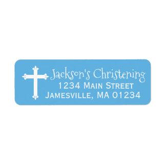 Blauer und weißer TaufRücksendeadressen-Aufkleber Rückversand-Adressaufkleber
