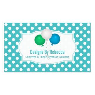 Blauer und weißer Tupfen: Ballon-Visitenkarten Visitenkarten
