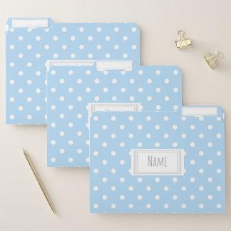Blauer und weißer Tupfen-Muster-Name/Thema Papiermappe