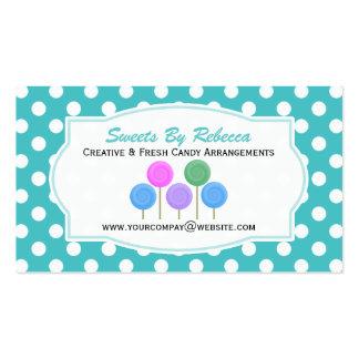 Blauer und weißer Tupfen: Süßigkeits-Visitenkarte Visitenkarten