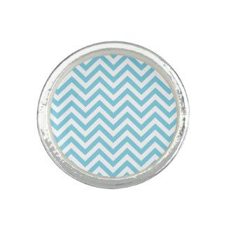 Blauer und weißer Zickzack Stripes Zickzack Muster Ring