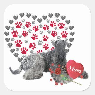 Blauer Valentinsgruß Kerrys für Mamma Quadratischer Aufkleber