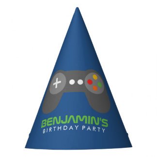 Blauer Videospiel-Prüfer-Kindergeburtstag Partyhütchen