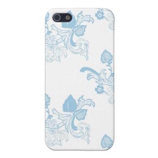 Blauer Vintager Blumenmuster-Entwurf iPhone 5 Schutzhülle