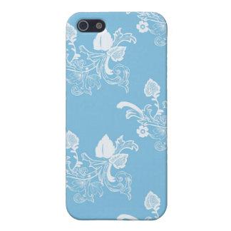Blauer Vintager Blumenmuster-Entwurf Schutzhülle Fürs iPhone 5