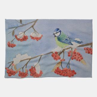 Blauer Vogel auf einem Eberesche-Baumast Küchentuch