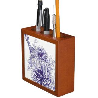 Blauer Vogel-und Pfingstrosen-Stift-Halter Stifthalter