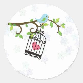Blauer Vogel, Vogelkäfig Runder Sticker